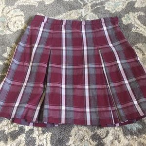 Other - Plaid Burgundy Uniform School Skirt